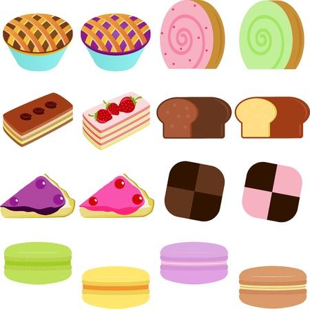 vector Icons   Cute Sweet Cake, Cupcake, Pie, Cheesecake and pastel Macoron