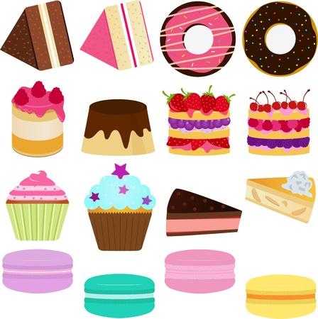 Icons   Cute Sweet Cake, Cupcake, Pie, Cheesecake and pastel Macoron