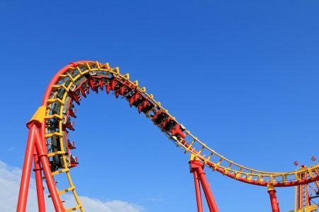 Boomerang, a Roller Coaster ride at 85km h  53mph  at Prater Amusement park in Vienna, Austria