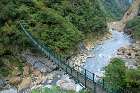 A Suspension Footbridge crossing Taroko Gorge National Park, Taiwan