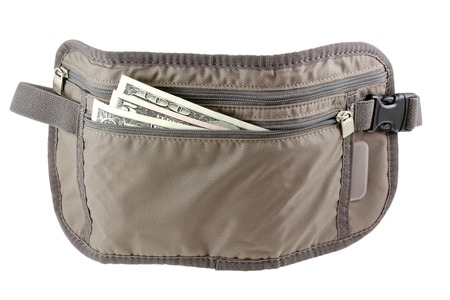 Anti-theft Travel pouch, waist bag, to put money, ticket and passport, isolated on white
