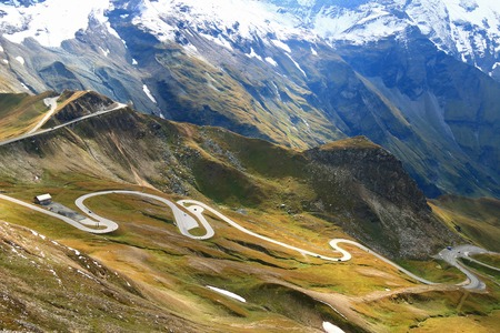 View of the Grossglockner High Alpine Road Hochalpenstrasse. The windy road with 36 bends that leads to the heart of the Hohe Tauern National Park in Austria.