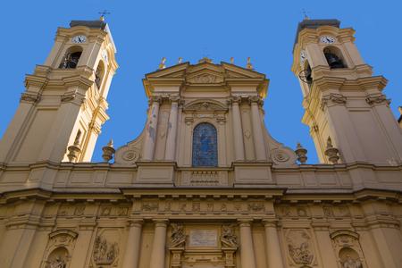 SANTA MARGHERITA LIGURE, ITALY - SEPTEMBER 2016 : Facade of Santa Margherita Church (Basilica of Santa Margherita of Antiochia) in Santa Margherita Ligure, Italy on September 22, 2016.