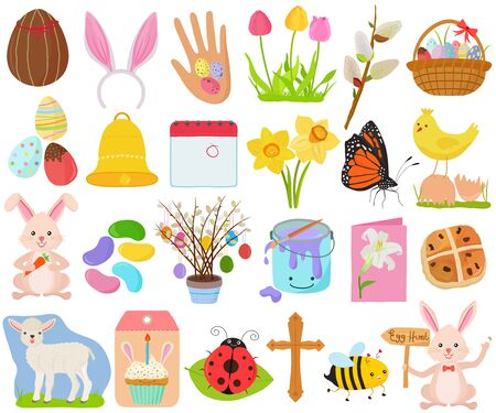 Photo pour Vector set of Easter holiday, spring season in cute colorful theme. Collection of animal, flower, food icons in pastel color on white background. - image libre de droit