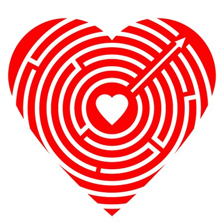 Soul path. Love concept. Red big heart with round labyrinth and small heart inside maze. Arrow exit. Love symbol for website design. Vector illustration isolated on white background.