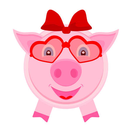 Photo pour Piggy girl with hair bow on the head and in glasses from hearts. Vector illustration in flat style. - image libre de droit