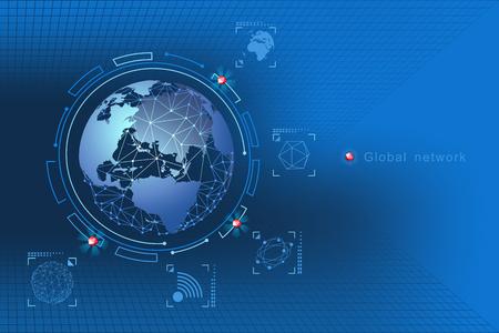Foto für Modern design of network connections, the planet and satellites in orbit. Background vector illustration - Lizenzfreies Bild