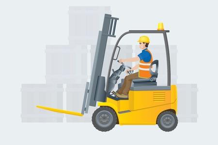 Ilustración de Forklift electric. Modern warehouse. Vector illustration - Imagen libre de derechos