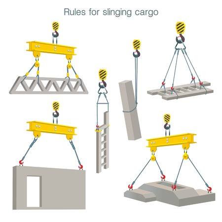 Ilustración de Rules for slinging cargo. Safety at the construction site. Lifting of reinforced concrete products. Set of vector illustrations on white background - Imagen libre de derechos