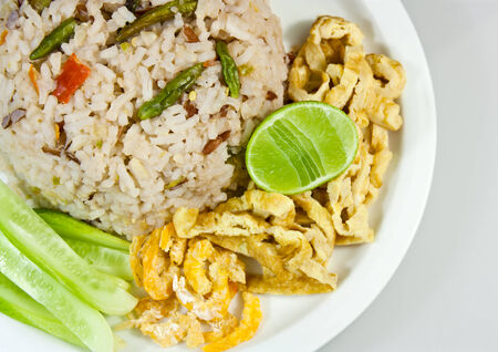 Rice mixed with shrimp paste and dried shrimp eggs inserted,Thai food