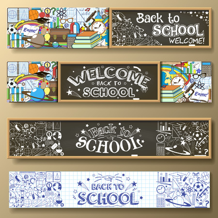 Illustration pour Back to School horizontal banners with doodle stationery and other school subjects. Standard for web proportions. - image libre de droit