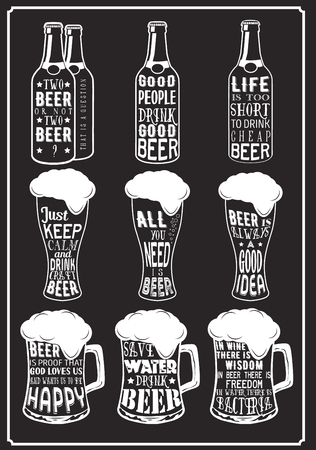 Set of beer typography vintage Quotes prints