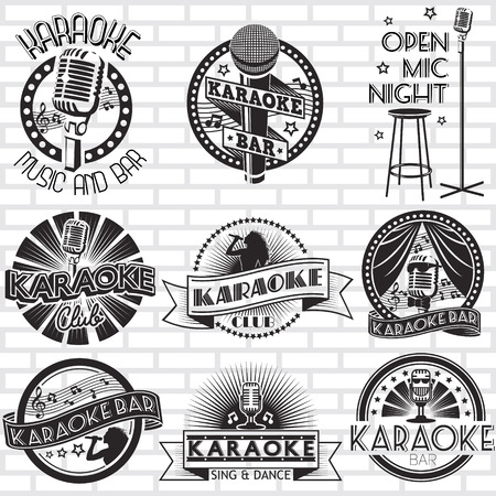 Illustration pour Karaoke vector labels design - image libre de droit