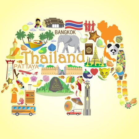 Illustration pour Thai elephant. Set vector icons and symbols of Thailand - image libre de droit
