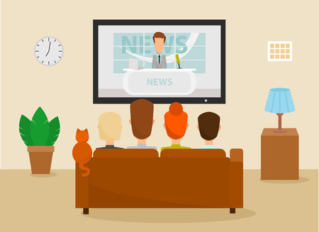 Illustration pour Family with cat watching TV daily news program sitting on the couch at home in the living room. Vector illustration in a cartoon style - image libre de droit