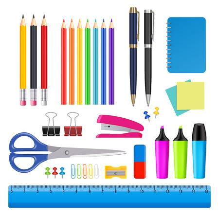 Illustration pour Vector school and office supplies icon set - image libre de droit