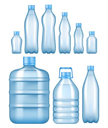 Illustration pour Realistic plastic water bottles set. - image libre de droit
