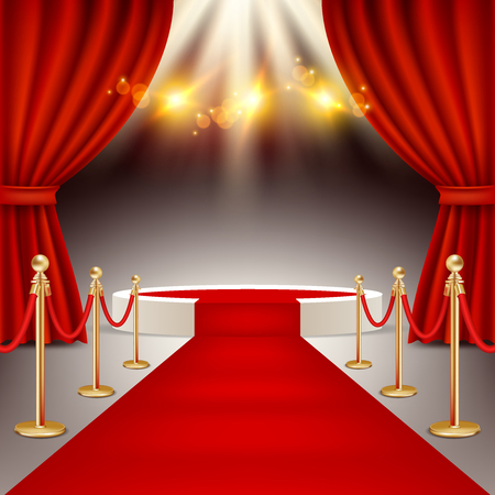 Illustration pour Winners podium with red carpet vector realistic illustration. - image libre de droit