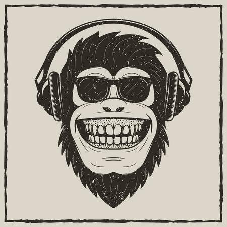 Illustration pour Funny monkey listening to music vector grunge t-shirt printing design - image libre de droit