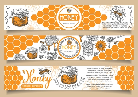 Illustration pour Bee natural honey vector horizontal banner set. Hand drawn honey natural product concept design elements for honey business advertising. - image libre de droit