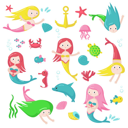 Ilustración de Cute mermaid icon set for greeting card, invitation, poster, sticker, print. Vector isolated illustration of beautiful swimming girls with dolphin, crab, jellyfish, starfish, fish, turtle and seahorse - Imagen libre de derechos