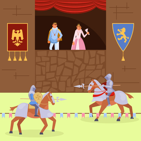 Illustration for Medieval knights joust scene. Vector illustration of royal family looking at fight between mounted knights wearing armor and using lances. Middle ages knights tournament flat style design. - Royalty Free Image