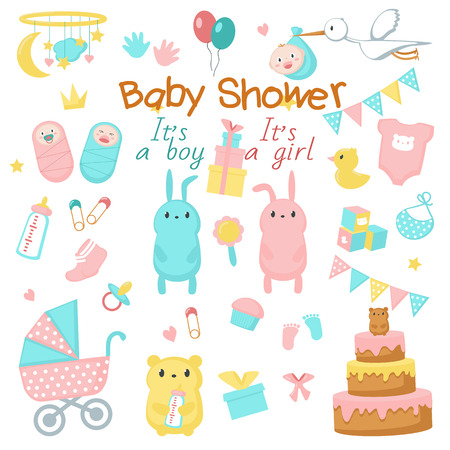 Foto de Baby shower icon set. Vector hand drawn illustration of cute newborn babies, funny pink and blue animals bunnies bears, sweets, party decorations. Baby shower invitation greeting card design elements. - Imagen libre de derechos