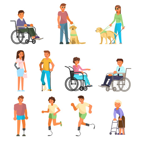 Illustration pour Disabled people icon set. Vector flat illustration isolated on white background. People using mobility aids walking frame, wheelchair, runner blades, crutches, prosthesis. Blind with stick, guide dog. - image libre de droit