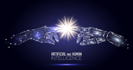 Illustration pour Robot and human touching hands vector polygonal background - image libre de droit