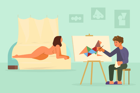 Illustration for Painter artist drawing from nude model vector illustration - Royalty Free Image