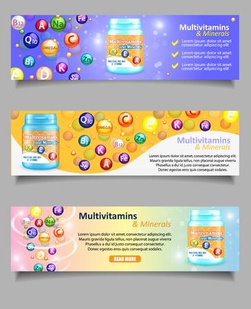 Illustration pour Vector set of vitamin and mineral complex banners - image libre de droit