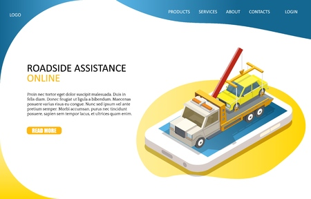 Illustration pour Online roadside assistance landing page website vector template - image libre de droit