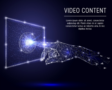 Illustration pour Video content vector polygonal art style illustration - image libre de droit