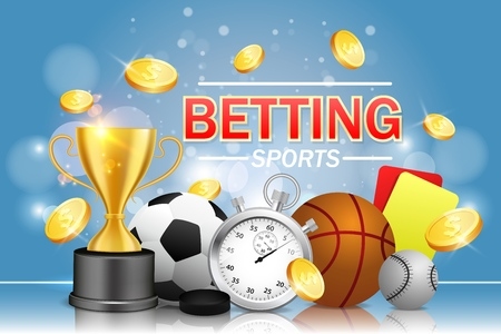 Illustration pour Sports betting vector poster banner design template. Soccer basketball baseball balls, stopwatch, hockey puck, yellow and red referee cards, trophy award cup and dollar coins. Bookmakers concept. - image libre de droit
