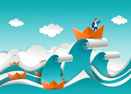 Illustration for Business leader concept vector poster in paper art origami style. Businessman looking through telescope standing in boat on the top of ocean wave. Business leadership concept. - Royalty Free Image