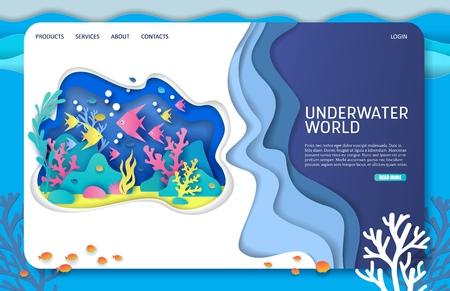 Illustration pour Underwater world vector website landing page design template - image libre de droit