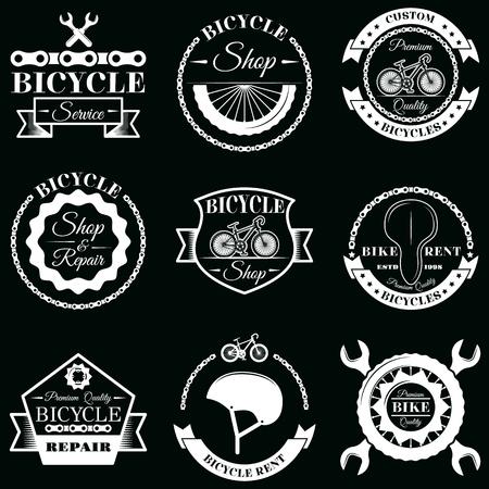 Illustration pour Vector set of bicycle service badges labels logo - image libre de droit
