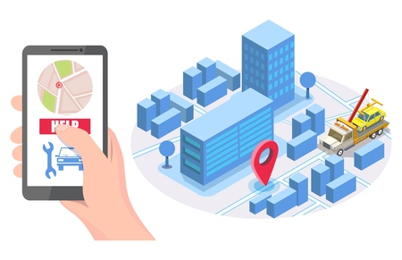 Illustration pour Hand holding smartphone with map, help button, isometric city road, tow truck evacuator with auto, vector illustration. Online roadside assistance, car towing service mobile app concept for web banner - image libre de droit