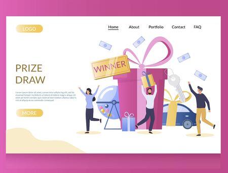 Illustration pour Prize draw vector website landing page design template - image libre de droit