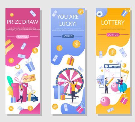 Illustration pour Lottery vector vertical web banner template set - image libre de droit