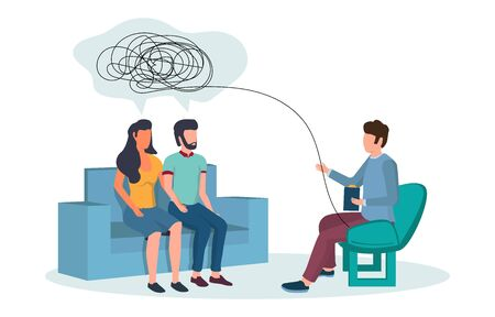 Illustration pour Psychotherapy session vector flat illustration. Psychotherapist counseling couple having relationship problems. Family therapy, psychological services concept for web banner, website page etc. - image libre de droit