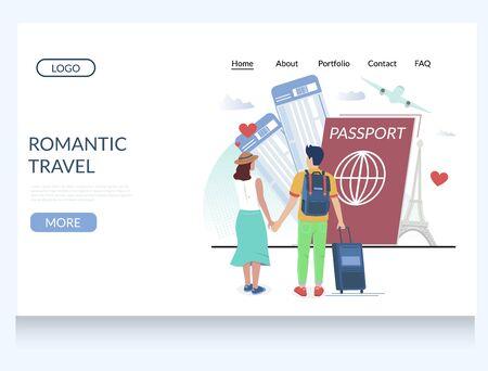 Illustration pour Romantic travel vector website landing page design template - image libre de droit
