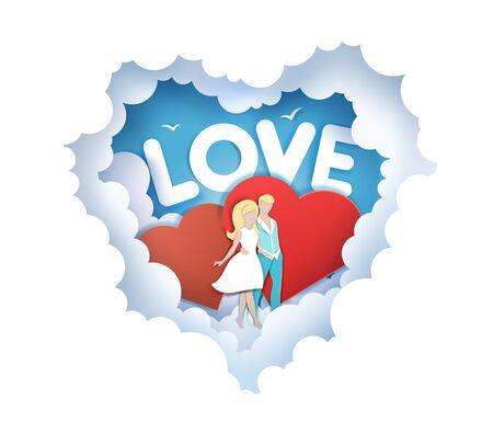Illustration pour Romantic love, vector illustration in paper art craft style - image libre de droit