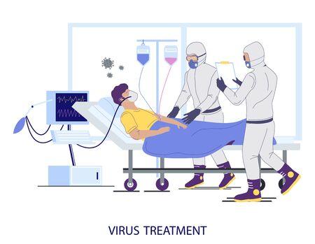 Illustration pour Hospital coronavirus treatment concept vector flat illustration - image libre de droit