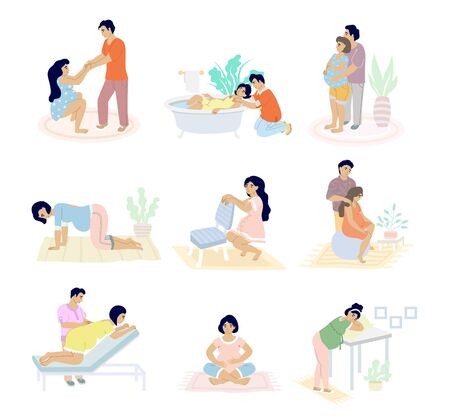 Illustration for Birth positions set, vector flat isolated illustration. Pregnant woman in labour supported by husband. Moms giving birth sitting, standing, kneeling, in water, using birthing ball, stool positions. - Royalty Free Image