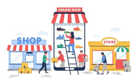 Illustration for Online to offline commerce, vector flat illustration. O2O retail and electronic commerce business strategy. Potential online consumers making purchases in physical stores. - Royalty Free Image