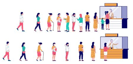 Illustration pour People waiting in line at ticket box or registration counter, vector flat illustration. Characters standing right behind people in one line and keeping social distancing, wearing face masks in other. - image libre de droit