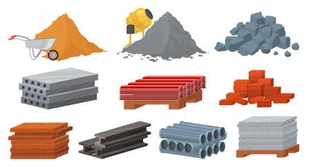 Illustration for Construction materials set, flat vector illustration. Pile of sand cement stones bricks. Gypsum blocks, metal roof, tile - Royalty Free Image