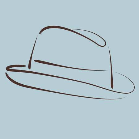 Sketched man s fedora hat silhouette. Vector.