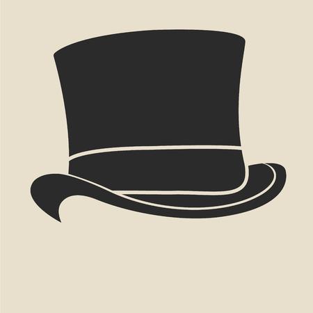 Illustration for Vintage man s top hat label. Design template for label, banner, badge, logo. - Royalty Free Image